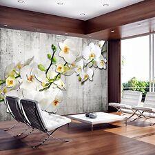 3D DESIGN FOTO VLIES TAPETE || BETONWAND ORCHIDEE (2) || 350 x 245 cm || NEU
