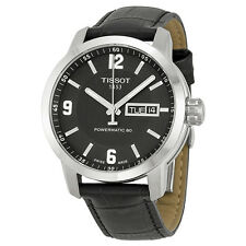 Tissot PRC200 Powermatic 80 Automatic Black Dial Black Leather Mens Watch