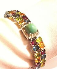 Vintage Genuine Real Turquoise ColorMulti Gemstones 925 Sterling Silver Bracelet