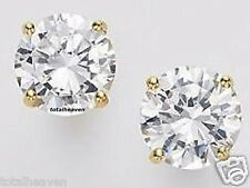 NEW 2 Carat tw Solid 14K Yellow Gold AAA D-Flawless 6mm CZ Stud Earrings Sparkly