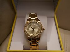 NEW WT BOX WOMEN'S LIZ CLAIBORNE YELLOW GOLD TONE RHINESTONE WATCH  LC1314