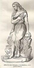 A5191 Barrè - Statua de La Maddalena - Xilografia Antica del 1843 - Engraving