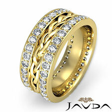 8mm Mens Wedding Band 18k Yellow Gold Dazzling Diamond Rope Eternity Ring 1.85Ct
