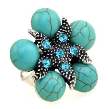 Starfish Ring With Turquoise Stones and Rhinestones