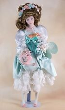 Vintage Lily W S George Porcelain Doll 16 Inch w/Tag & Stand 1990 76204-HT