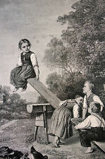 Children on a SEESAW Unfair Advantage 1883 Antique Art Print Engraving Matted