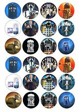 24 Dr Who Wafer / Rice Paper Cupcake Topper Edible Fairy Cake Bun Toppers