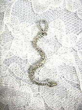 NEW CURVY 3D BOA CONSTRICTOR SNAKE SERPENT PEWTER PENDANT ADJ CORD NECKLACE