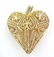 18K YELLOW GOLD PENDANT FILIGREE HEART PENDANT 18 GRAMS FINE JEWELRY NO SCRAP