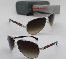 New Authentic PRADA SPORT 0PS 51NS 1BC6S1 Silver Brown with Brown Gradient 63mm