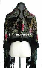 Handmade Stunning Beaded 100% Silk Velvet PEACOCK Oblong Scarf Shawl Wrap, Black