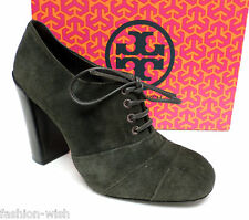 TORY BURCH Size 7 Forest Green Suede Ankle Booties Boots Shoes