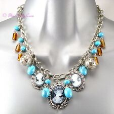 Boho Vintage Chic Silver Plated Turquoise Amber Bead Triple Cameo Charm Necklace
