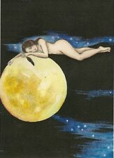 ACEO PRINT OF PAINTING RYTA CROW RAVEN NUDE GOTHIC MOON WICCA HALLOWEEN WITCH