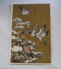 SMALL INCREDIBLY Enchanting SIGNED Vintage WOODBLOCK Print JAPANESE Snow BIRDS