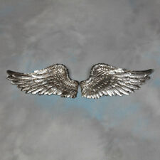 Pair of Decorative Antique Silver Angel Wings Wall Hangings - 40 cm Wide Each