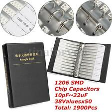 1206 SMD SMT Chip Capacitors Assorted Kit 10pF~22uF 38Values x50 Sample Book