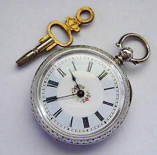 Antique 1880s Swiss Silver Fancy Dialed Key Wind Mechanical Pocket Watch LAYBY