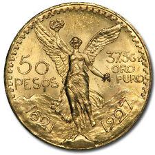 1927 Mexico 50 Pesos Gold Coin - Random Condition AU/BU - SKU #35377