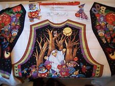 2 Concord Teddy Bear Pumpkin Halloween Vest Fabric Panels Adult S-XL TWINS Cute!