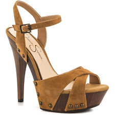 Jessica Simpson Faraday 7.5 Platform Honey Brown Suede Tan Open Stiletto Sandals