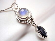 Faceted Iolite & Blue Moonstone Necklace 925 Sterling Silver Rope Style Accents