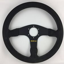 Genuine Sparco 375, suede 350mm steering wheel. Great condition. Fits Momo hub