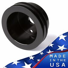 Black Small Block Chevy Crankshaft Pulley V-Belt 2V Crank LWP SBC 350 327 400