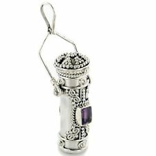 Tall Sterling Silver Amethyst Poison Bottle Pill Box Locket Pendant