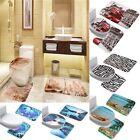 Soft Flannel Bathroom Pedestal Rug Set Contour Bath Mat Lid Toilet Cover 3 PCS