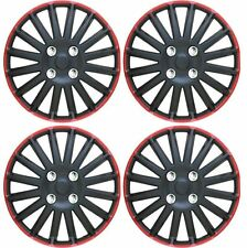 4pc Set of 14' Black Red ABS Hub Caps Covers for Steel Wheel Covers Caps