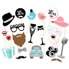 Wedding Photo Booth Props Party Funny Mask DIY Mr Mrs Bride Groom Photobooth Hot