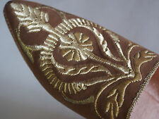 Vintage Gold Metallic Embroidery Leather Babouche Moroccan Shoes Excellent 6.5 7