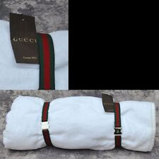 GUCCI Riva New Authentic Designer White Beach Web Logo Towel 74 x 38