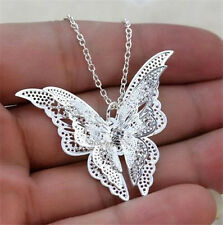 Women Silver Plated Hollow Butterfly Pendants Necklace Jewelry Gift♫