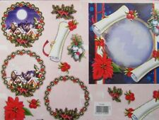 3D Paper Tole Card Making Embossed Christmas Poinsettias & Village 2 Pictures