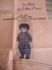 """T 5 PATRON POUPEE """"JEAN-MICHEL"""" MODES ET TRAVAUX"""""""" COMBINAISON DETENTE 1985"""