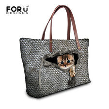 Woman Ladies Handbag Animal Woolen Print Shoulder Bag Tote Bag Large Capacity