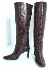 "DKNY WESTERN BURGUNDY GENUINE LEATHER WOMEN'S BOOTS SZ 6.5 ITALY 3.3/4"" HEELS"