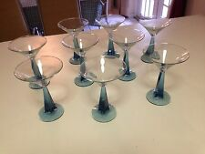 "BOMBAY SAPHIRE GIN BLUE TWISTED STEM MARTINI GLASES - 6-5/8"" H - 9 TOTAL"