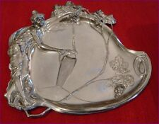 Antique WMF Jugendstil Art Nouveau Maiden Pewter Silver Plated Card Tray