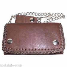 Biker Wallet Chain Geldbörse braun m.Kette Naked Leather Rockabilly Leder oi
