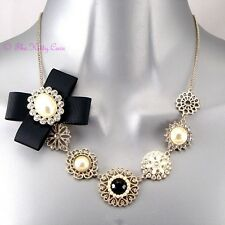 Deco Vintage Black Silk Bow Gold Filigree Dress Necklace w/ Swarovski Crystals