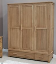 Windsor solid oak furniture large triple bedroom wardrobe