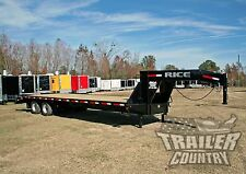 New 2017 10 Ton 30' Flat Bed Deck Over Equipment Dual Axle Gooseneck Trailer 20K