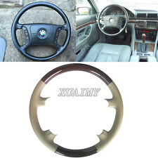 Tan Leather Wood Steering Wheel Cover for BMW E38 E39 5 7 Series 730 740 525 540