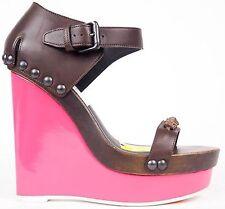 Bottega Veneta New,Chocolate Hot Pink Wedges, Stunning! Size 39,5 Uk 6