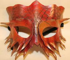 Máscara de dragón de fuego serpiente de cuero hecha a mano Veneciana Mascarada Rojo/Oro
