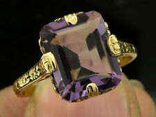 R273 Beautiful Genuine 9ct Solid Yellow Gold NATURAL Amethyst SOLITAIRE Ring sz7