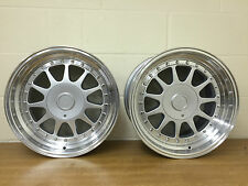 "17""  SILVER & POLISHED DEEP DISH DLUX A35 RETRO WHEELS 4/100/114 VW,HONDA,BMW"